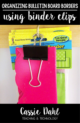 Tired of your borders being ruined because you shove them in a cabinet? Tired of digging for your borders under shelves? Try this simple trick to organize your borders in your classroom!