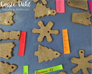 These cookie cutter ornaments are a super easy parent gift during the holidays. All you need is flour, salt and cinnamon and you have some easy ornaments that don't require any baking!